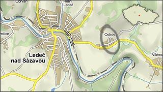 zobrazení mapy s obcí Ostrov